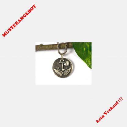 Anhänger, 925 Silber, Anker, Flügel, Herz, Wurzeln und Flügel, Taufe, Glücksbringer, Talisman, Amulett, Konfirmation, Komunion, Jahrestag