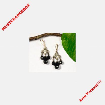 Ohrringe, 925 Silber, keltisch, Onyx, Mittelalter, Boho, edel, elegant, facettiert, Ohrhänger, Jugendstil