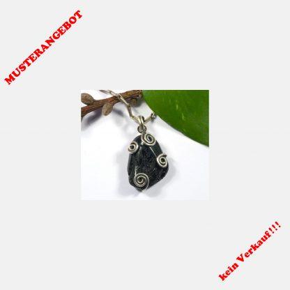Schwarzer Turmalin, 925 Silber, Spirale, keltisch, Wikinger, Triskele, Glücksbringer, Schutz, Amulett, Larp, Mittelalter, Gohtic